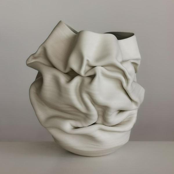 crumpled white clay stoneware vase sculpture