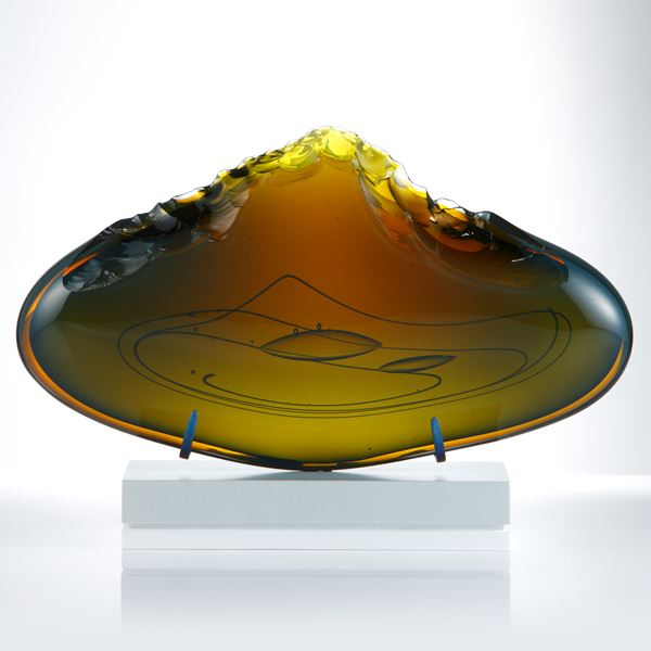 oval shaped art glass clove in tobacco colour