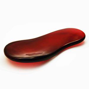 red insole shaped glass art sculpture