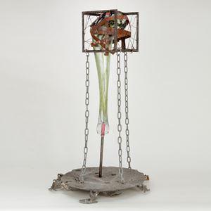 handblown and sculpted glass with metal political black lives matter sculpture