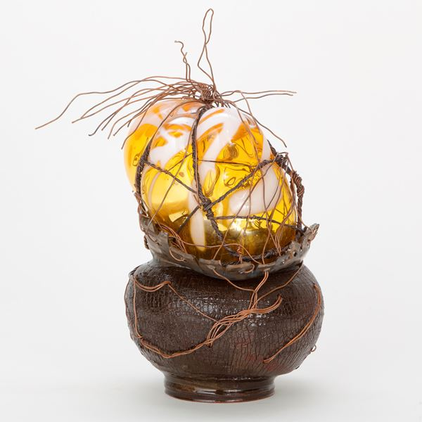 Handblown sculpted glass artwork with terracotta and copper wire