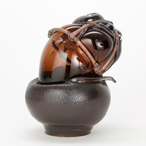 Handblown & sculpted glass with terracotta, micro bore copper pipe and copper wire