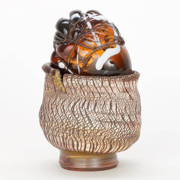 art-glass mixed media ornament in terracotta and copper