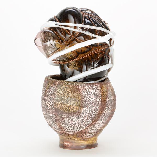 mixed media glass art-glass ornament sculpture