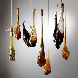 mixed media glass hanging handblown glass art sculpture installation