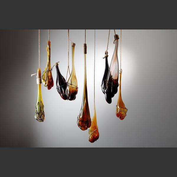 mixed media glass hanging handblown glass art sculpture installation