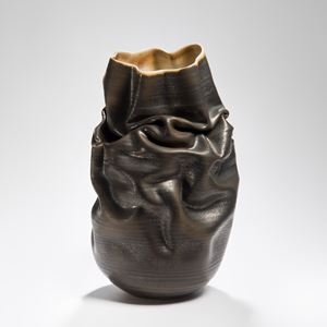 crumpled black stoneware clay vase art