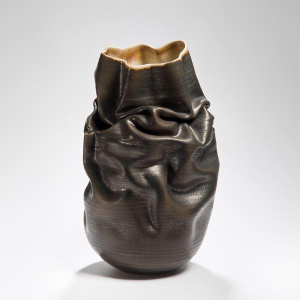 crumpled black stoneware clay vase art