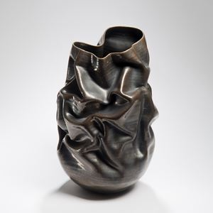black crumpled ceramic stoneware vase art