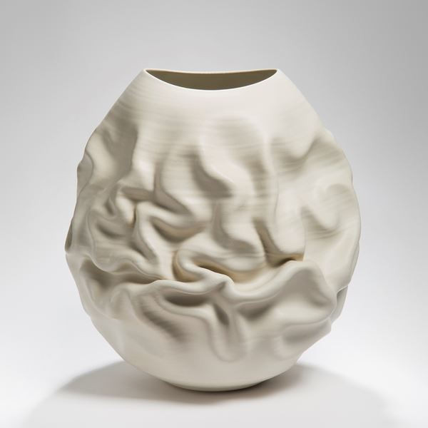 contemporary clay and stoneware vase sculpture
