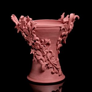 ornate plaster ceiling inspired sculpture in pink clay coloured stoneware