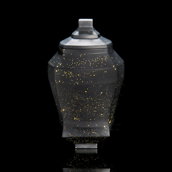 oriental style decorative glass art urn vase in black and gold