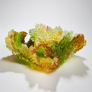 contemporary art-glass sculpture of leaf in autumnal colours