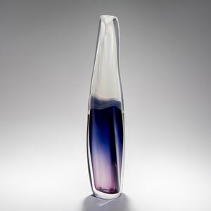 handblown sculpted tall thin glass ornament in clear blue and pink