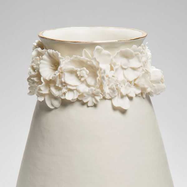 porcelain ware inspired ceramic art vase in cream and gold lustre