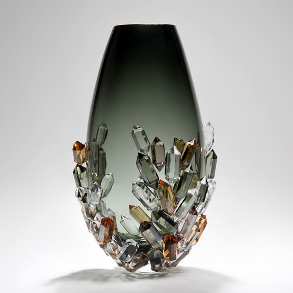 blown glass vase with crystal additions in modern scandinavian style