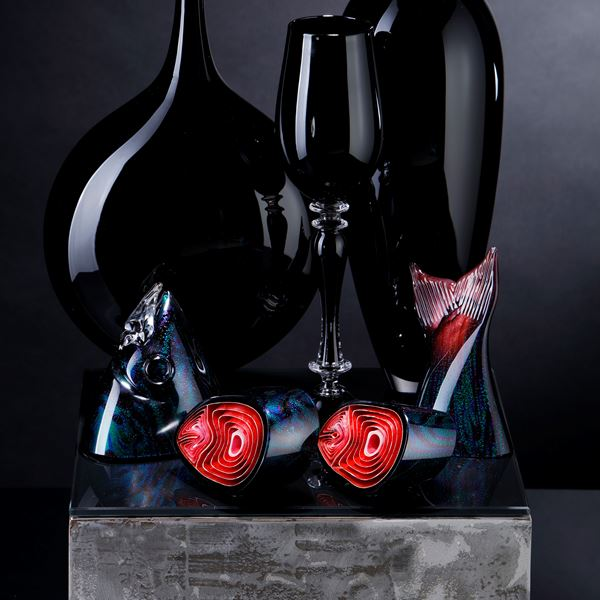 black and red contemporary still life art glass sculpture with vases and cut fish