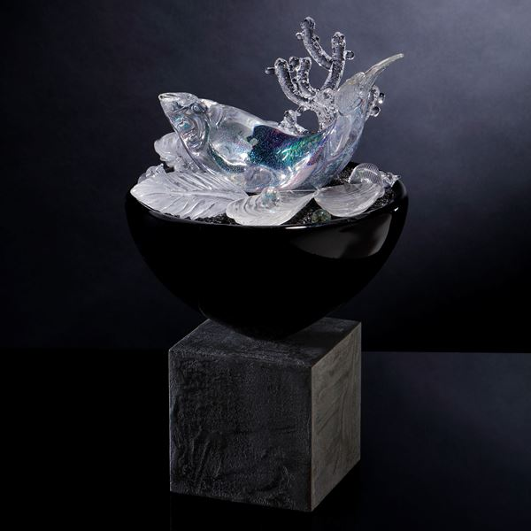 contemporary art glass blue and crystal handblown glass sculpture with fish and molluscs with wood and concrete base