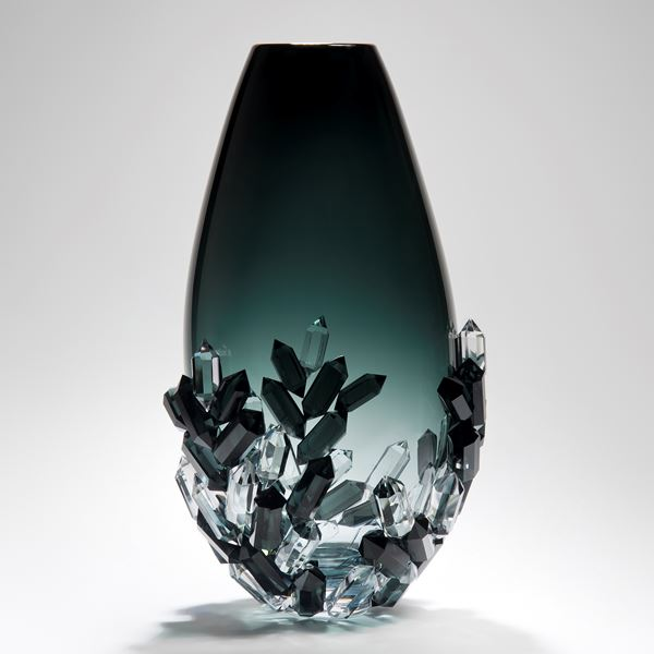 dark blue grey and clear handblown sculpted glass vase ornament with crystal detail