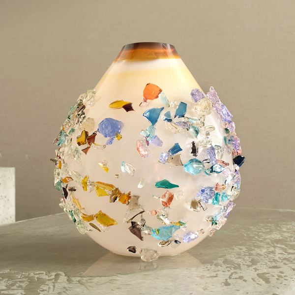 amber white and multicoloured contemporary textured art-glass sculptural vessel made from handblown glass