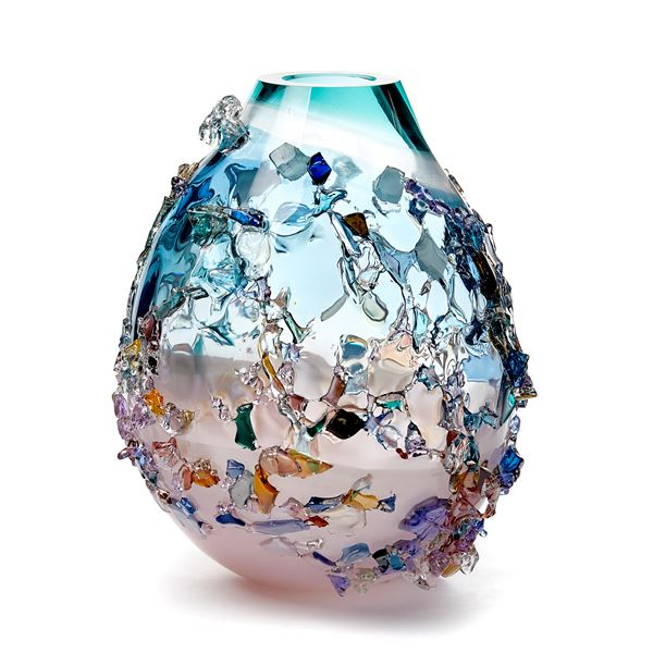 pink turquoise and multicoloured contemporary textured art-glass sculptural vessel made from handblown glass
