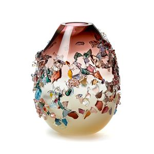 pink cream and multicoloured contemporary textured art-glass sculptural vessel made from handblown glass