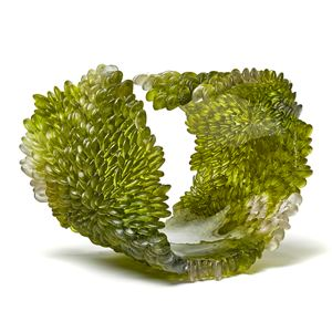 green contemporary textured organic art-glass sculpture made from cast and sculpted glass