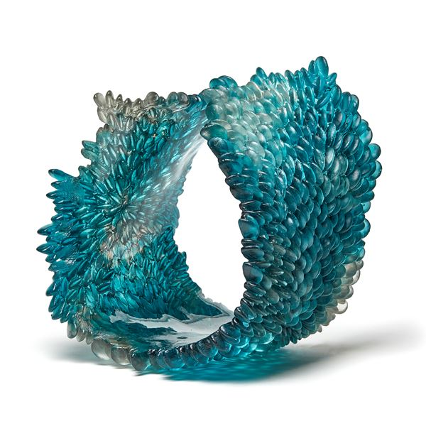 teal blue contemporary textured organic art-glass sculpture made from cast and sculpted glass