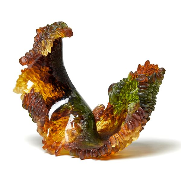 red, green and amber contemporary textured organic art-glass sculpture made from cast and sculpted glass