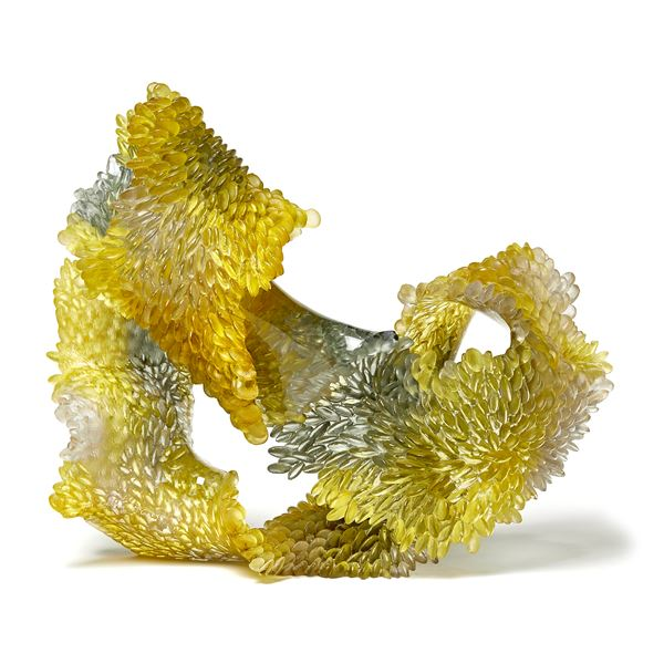 green and amber contemporary textured organic art-glass sculpture made from cast and sculpted glass