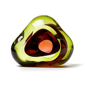 green and pink contemporary glossy amorphic art-glass sculpture made from blown and sculpted glass