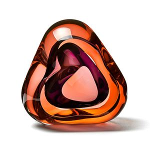 orange and purple contemporary glossy amorphic art-glass sculpture made from blown and sculpted glass