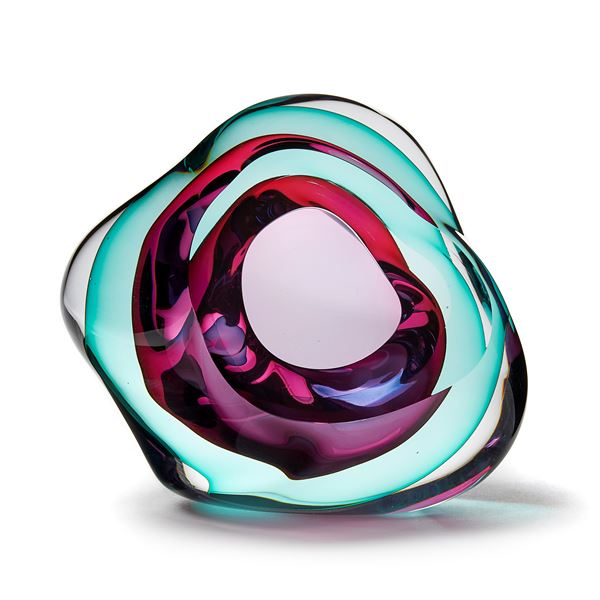 turquoise and pink contemporary glossy amorphic art-glass sculpture made from blown and sculpted glass