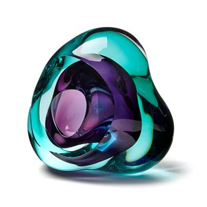 green and purple contemporary glossy amorphic art-glass sculpture made from blown and sculpted glass