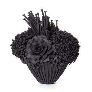 black stoneware sculpted artwork of roses and flowers