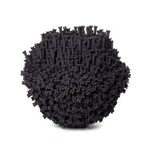 black stoneware sculpted artwork covered in small flowers