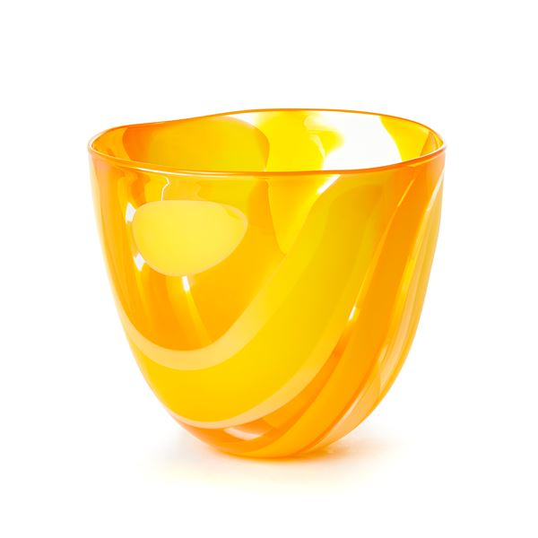 Yellow and orange handblown abstract patterned art-glass bowl