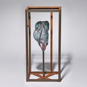 copper pipe wire and sculpted glass artwork