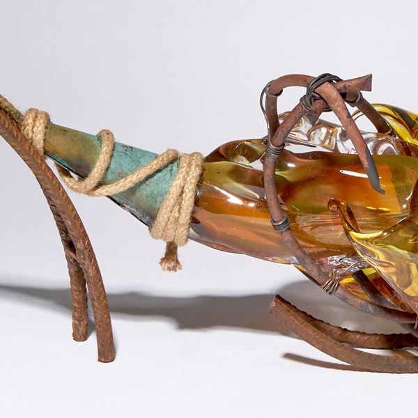 amber and brown contemporary mixed media abstract sculpture made blown glass patinated metal and rope