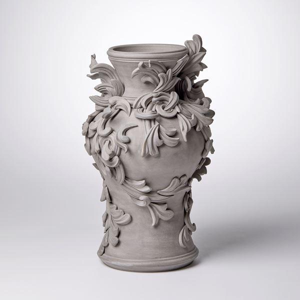 coloured stoneware ceramic vase with decorative classical italian trim