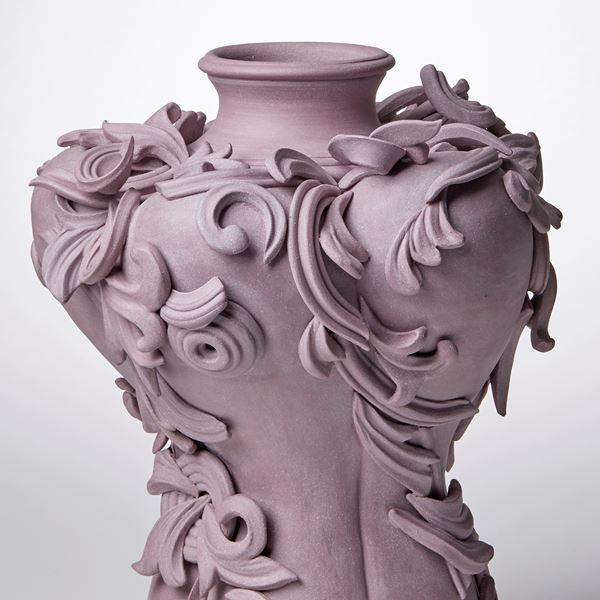 stoneware ceramic vase with detailed decorative trim
