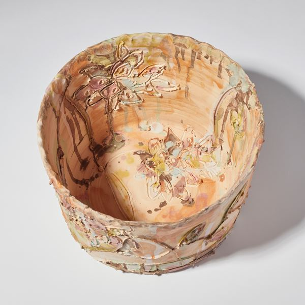 pastel pink contemporary ceramic art sculptural centrepiece made from hand crafted clay