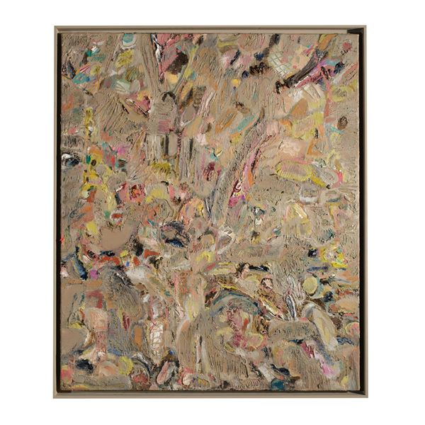 multicoloured abstract floral highly textured contemporary oil painting