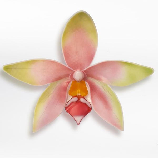 green pink and gold contemporary sculptural art-glass orchid made from hand crafted fused glass