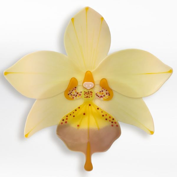 yellow and gold contemporary sculptural art-glass orchid made from hand crafted fused glass