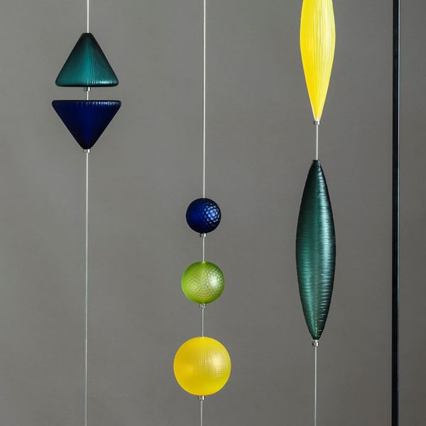 yellow blue and green geometric abacus style hanging sculpture made from handblown and cut glass with steel frame