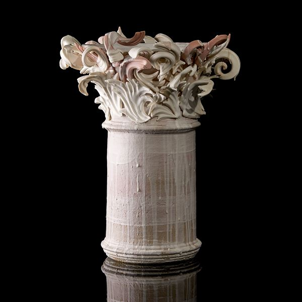 white and pink contemporary architectural weathered ceramic sculpture made from hand sculpted clay