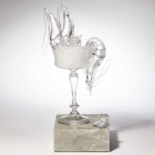 handblown and sculpted modern art glasswork of shrimp cocktail