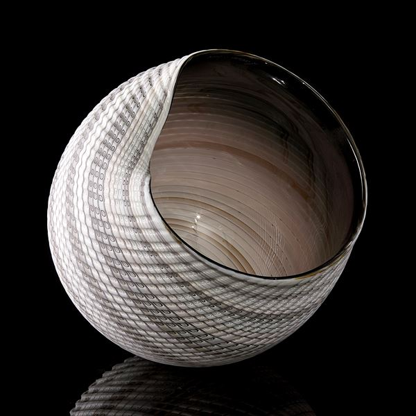 handblown and cut glass contemporary sculptural installation with swirling pattern