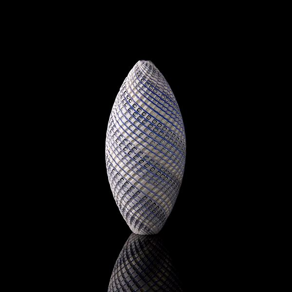 blue grey and white contemporary sculpture with swirling pattern made from handblown and cut glass